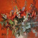 bloemstilleven - olieverf op doek - 60 x 60