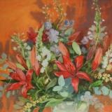 bloemstilleven - olieverf op doek - 70 x 70